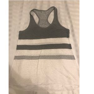 grey and white tank top